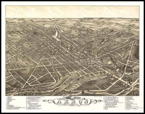 Akron 1882 (Middlebury) Panoramic Drawing