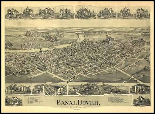 Canal Dover 1899 Panoramic Drawing