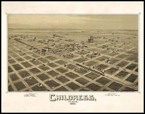 Childress 1890 Panoramic Drawing