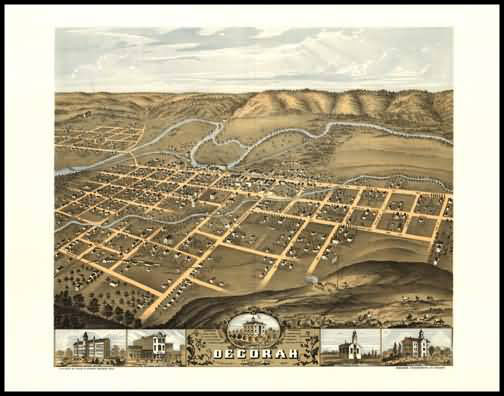 Decorah 1870 Panoramic Drawing