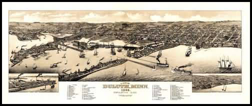 Duluth 1883 Panoramic Drawing