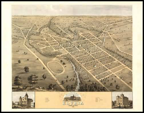 Elyria 1868 Panoramic Drawing
