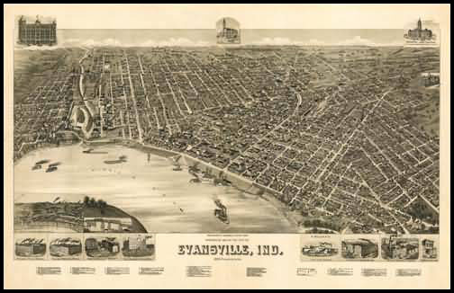 Evansville 1888 Panoramic Drawing