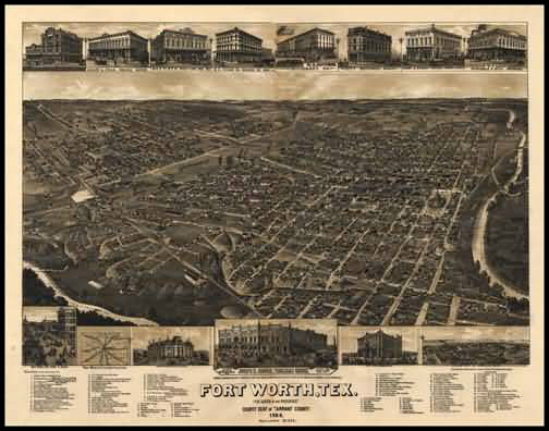 Fort Worth 1886 Panoramic Drawing