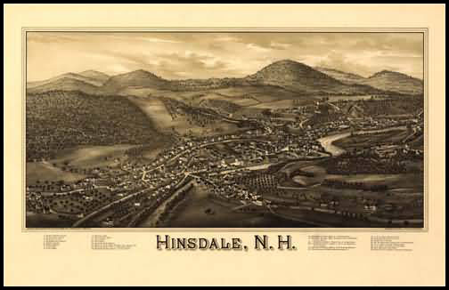 Hinsdale 1886 Panoramic Drawing