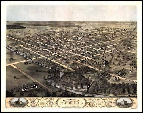 Kokomo 1868 Panoramic Drawing