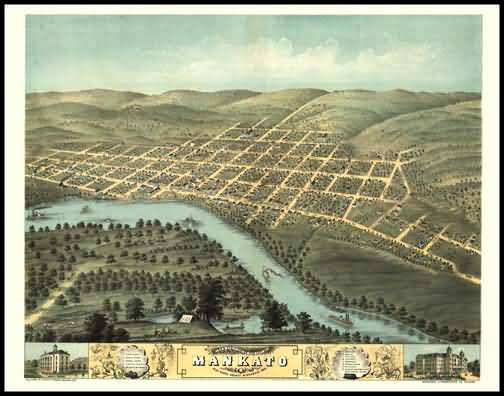 Mankato 1870 Panoramic Drawing