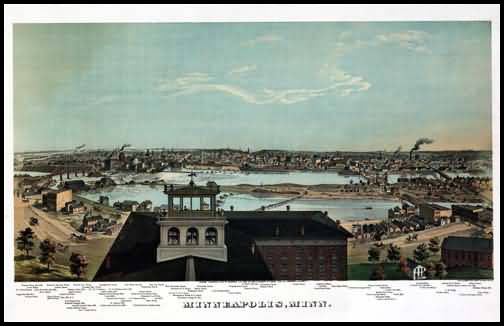 Minneapolis 1874 Panoramic Drawing