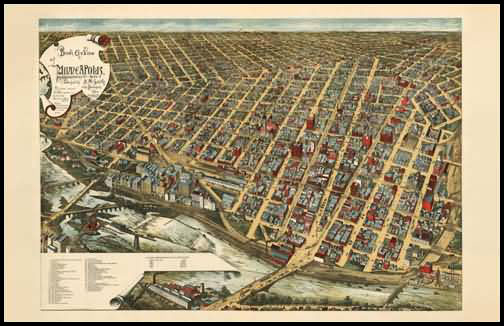 Minneapolis 1891 Panoramic Drawing