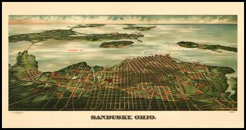 Sandusky 1889 Panoramic Drawing