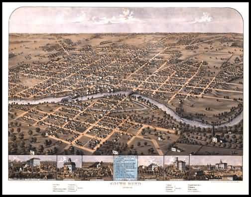 South Bend 1866 Panoramic Drawing