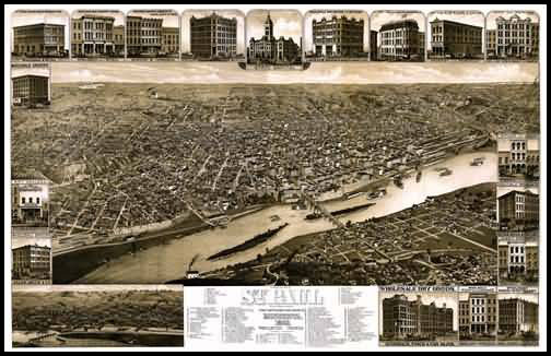 St. Paul 1883 Panoramic Drawing
