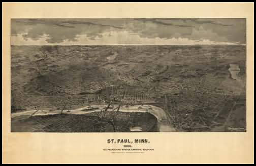 St. Paul 1888 Panoramic Drawing