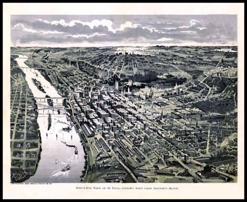 St. Paul 1893 Panoramic Drawing
