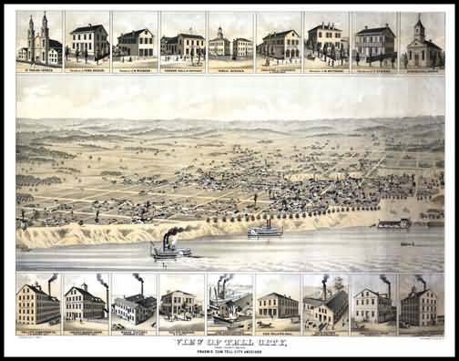 Tell City 1870s Panoramic Drawing