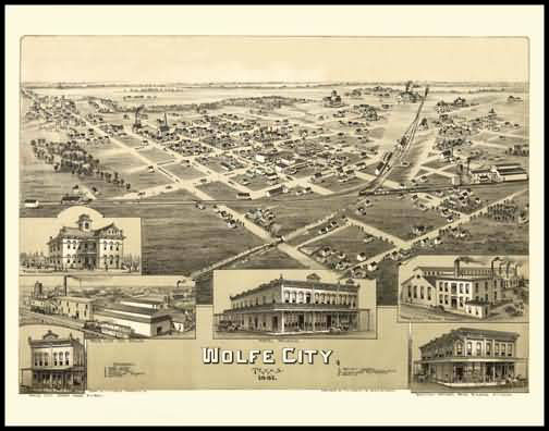 Wolfe City 1891 Panoramic Drawing