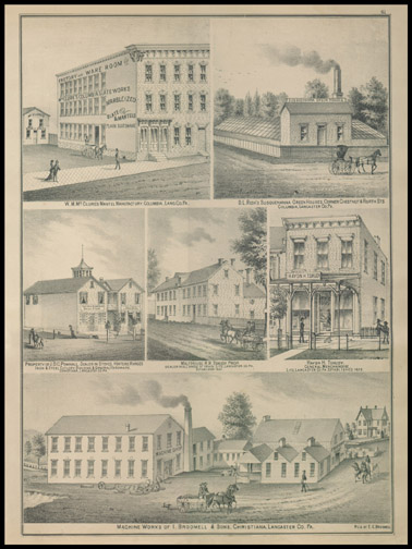 Mc Clures Mantel Manufactury,D. L. Resh's Susquehanna Green Houses,Hydn H. Tshundy - General Merchandise,Malt House of R. R. Tshundy,J.D.C. Pownall - Dealer in Stoves,Machine works of I. Broomell & Sons