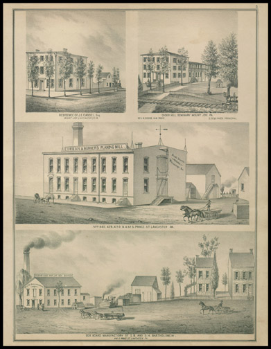 Residence of J.E. Cassel,Cader Hill Seminary,Urban & Burger's Planning Mill,Box Board Manufactury of D. B. and D. H. Bartholemew