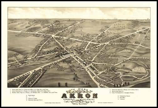 Akron 1882 Panoramic Drawing