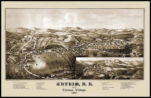 Antrim & Clinton Village 1887 Panoramic Drawing