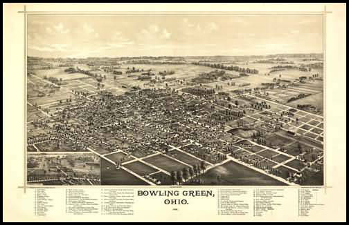 Bowling Green 1888 Panoramic Drawing