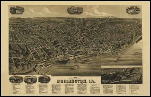 Burlington 1889 Panoramic Drawing