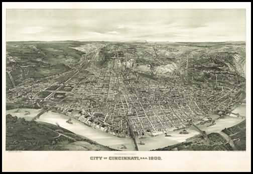 Cincinnati 1900 Panoramic Drawing