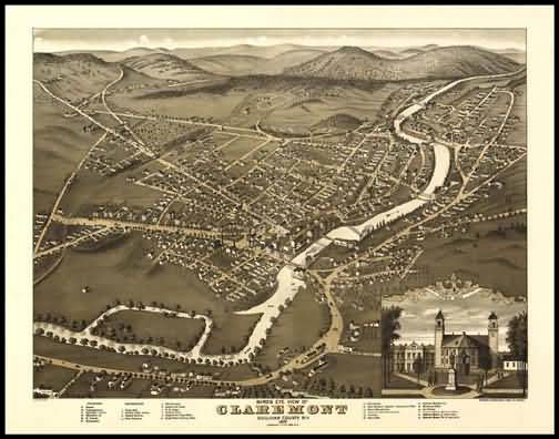 Claremont 1877 Panoramic Drawing