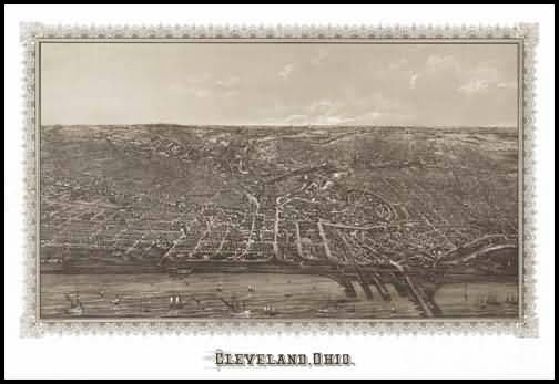 Cleveland 1876 Panoramic Drawing