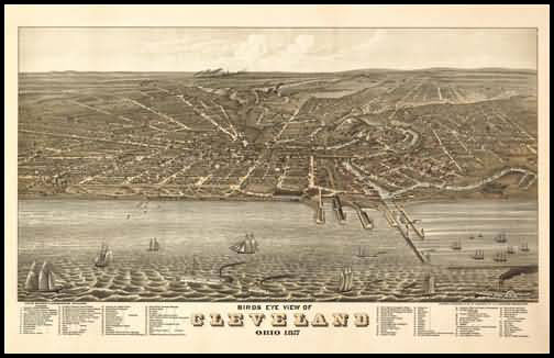 Cleveland 1877 Panoramic Drawing
