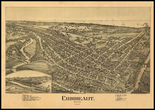 Conneaut 1896 Panoramic Drawing