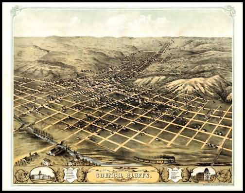 Council Bluffs 1868 Panoramic Drawing