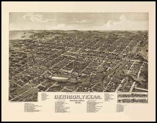Denison 1886 Panoramic Drawing