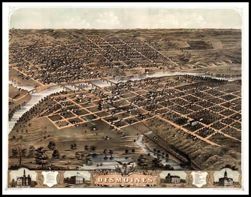 Des Moines 1868 Panoramic Drawing