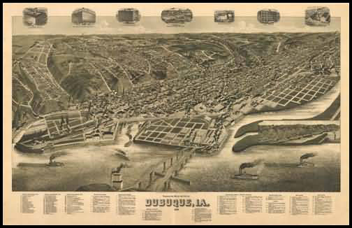 Dubueque 1889 Panoramic Drawing