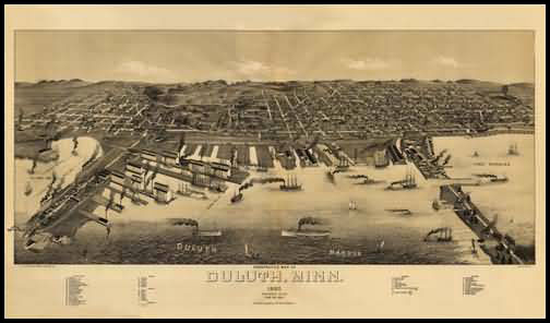 Duluth 1887 Panoramic Drawing