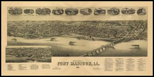 Fort Madison 1889 Panoramic Drawing