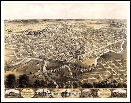 Fort Wayne 1868 Panoramic Drawing