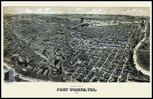 Fort Worth 1891 Panoramic Drawing