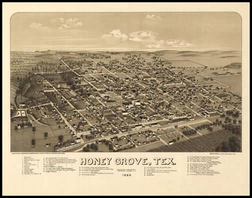 Honey Grove 1886 Panoramic Drawing