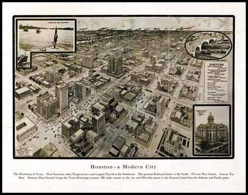 Houston 1912 Panoramic Drawing