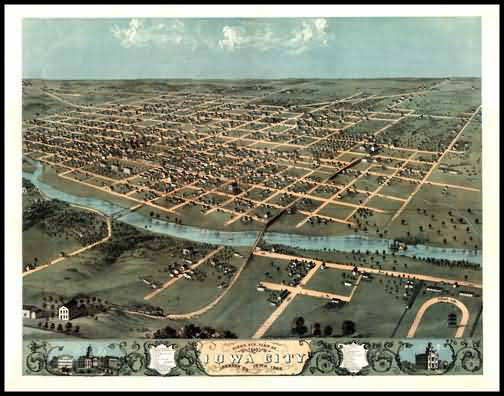 Iowa City 1868 Panoramic Drawing