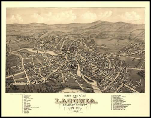 Laconia 1883 Panoramic Drawing