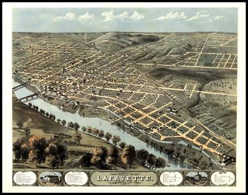 Lafayette 1868 Panoramic Drawing