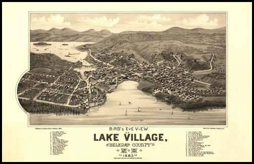 Lake Village 1883 Panoramic Drawing