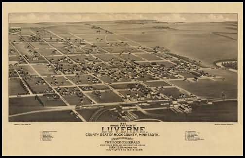 Luverne 1883 Panoramic Drawing