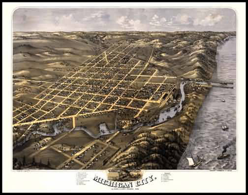 Michigan City 1869 Panoramic Drawing