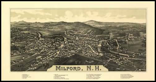 Milford 1886 Panoramic Drawing