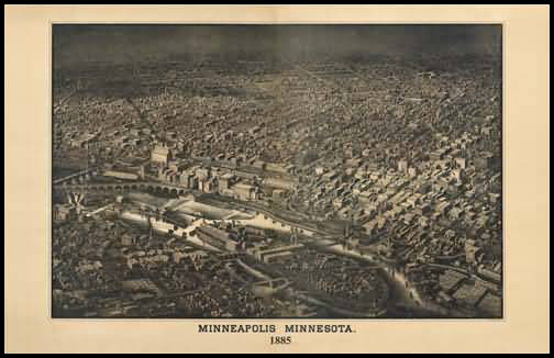 Minneapolis 1885 Panoramic Drawing