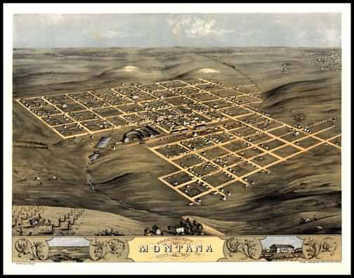Montana 1868 Panoramic Drawing